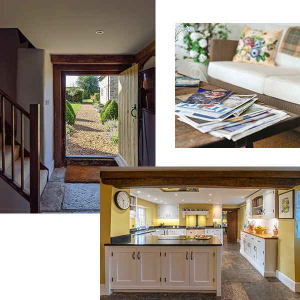 Collage of three images, entrance, sun house and kitchen at Middle Farm Bed and Breakfast
